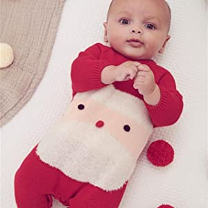 baby boys girls santa knitted romper one piece jumpsuit