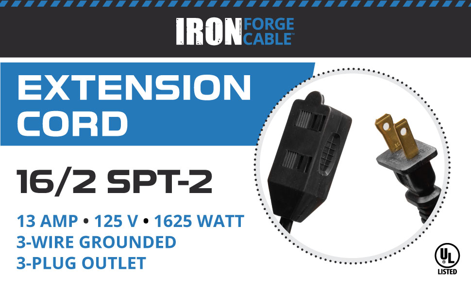 Iron Forge Cable 16/2 Extension Cord
