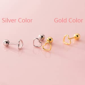 Rose Gold cartilage conch Screw Back Earrings Silver tragus K13 Small Pair of Folded Heart Stud Earrings in Sterling Silver helix