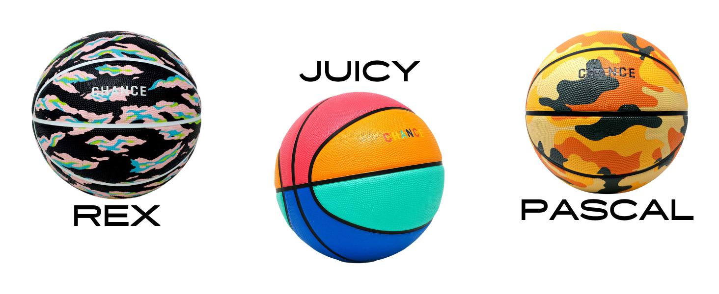 Rex, Juicy, and Pascal Basketballs