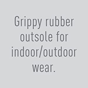 Grippy rubber outsole for indoor/outdoor wear.