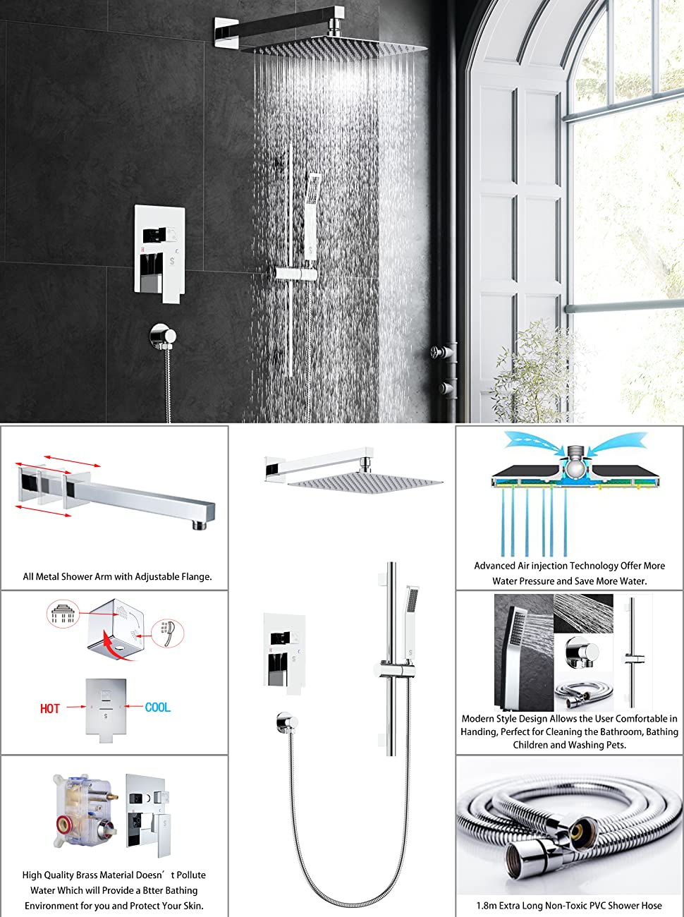 ceiling mounted shower system