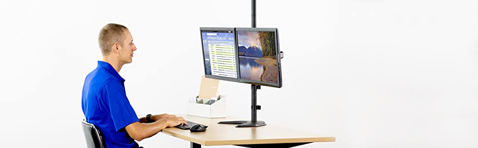 """VIVO Dual Monitor Free-Standing Stand up Desk Mount Extra Tall 40/"""" Pole Height A"""