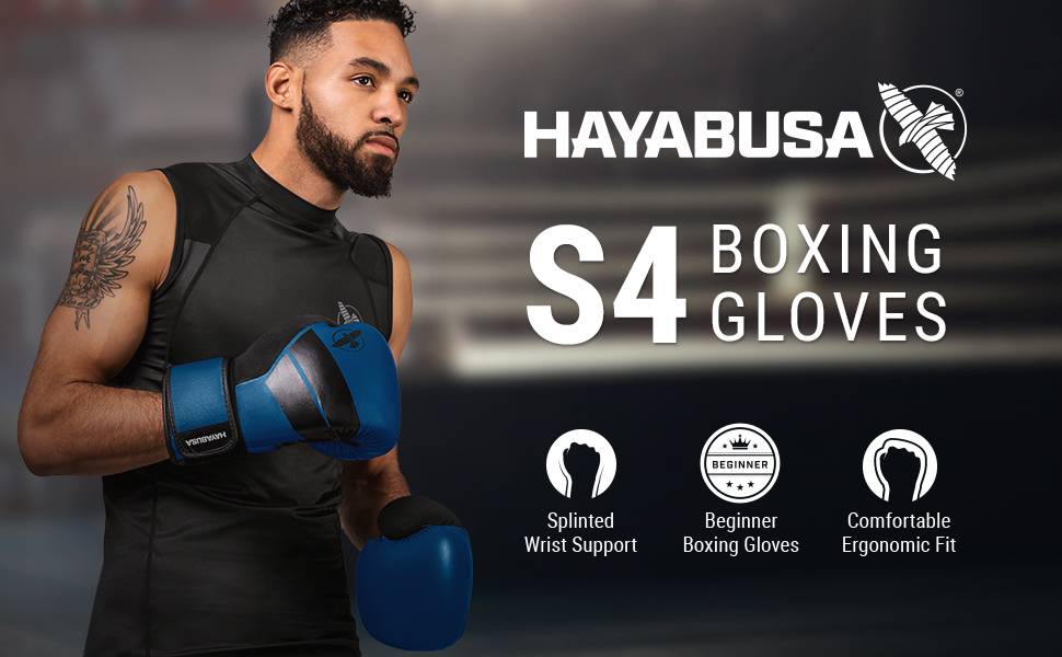 Athlete Wearing Blue Hayabusa S4 Boxing Gloves