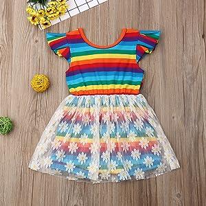 Toddler Kids Girl Ruffle Sleeve Summer dress Outfit
