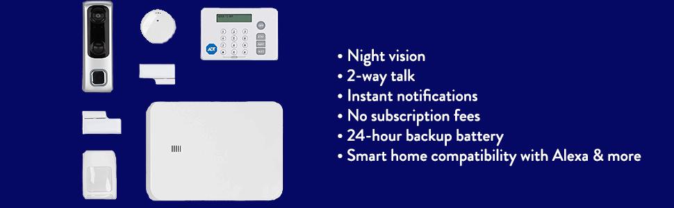 security home alarm system, blue ADT, alexa compatible alarm set, security panel starter kit