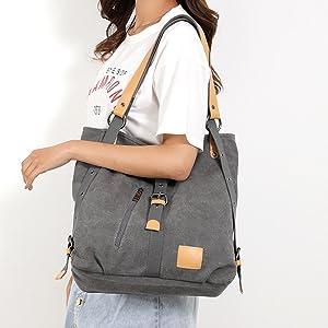 Damen Canvas Handtasche Umhängetasche große Damentasche Henkeltasche Tasche