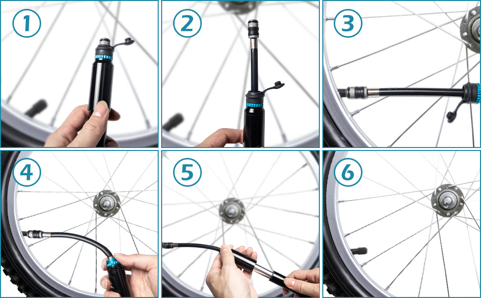 Mini Bike Pump Portable High Pressure Bike Tire Inflator with Flexible Hose Fits Presta and Schrader