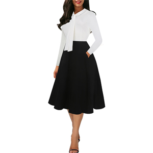 1940s pin up Black fit and flare midi dress for women church