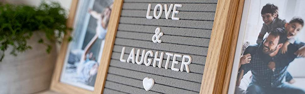 Natural light brown custom picture frame for love and family with felt letter board on tabletop