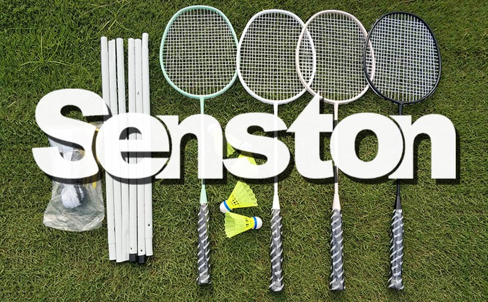 Senston Badminton Rackets Set for Family Play 4 Pack Badminton Set Outdoor Entertainments and Exercise Fitness