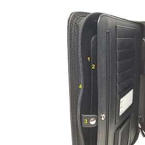 leather portfolio tablet sleeve pocket zippered