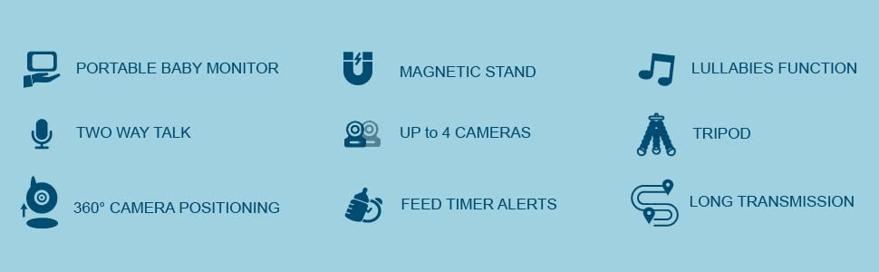 portable monitor two way talk 360 posting up to 4 camera feed timer