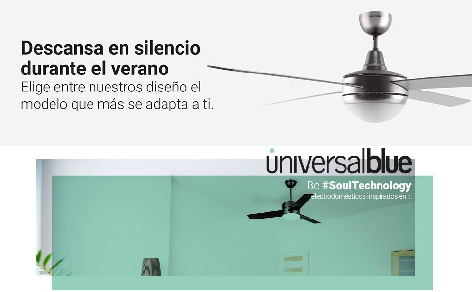 UNIVERSALBLUE | Ventilador de Techo INOX | Luz | Mando a Distancia ...