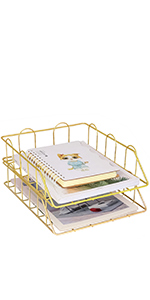 Superbpag Set of 2 Office Supplies Metal Stackable File Document Letter Tray Organizer, Gold