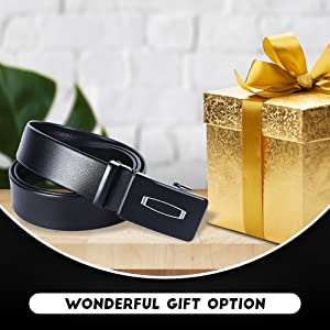 Men's Belt with Automatic lock Buckle (Strap gripped), Black Free Size
