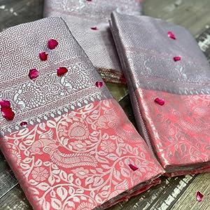 Pink Kanjivaram banarasi silk saree for women sarees design