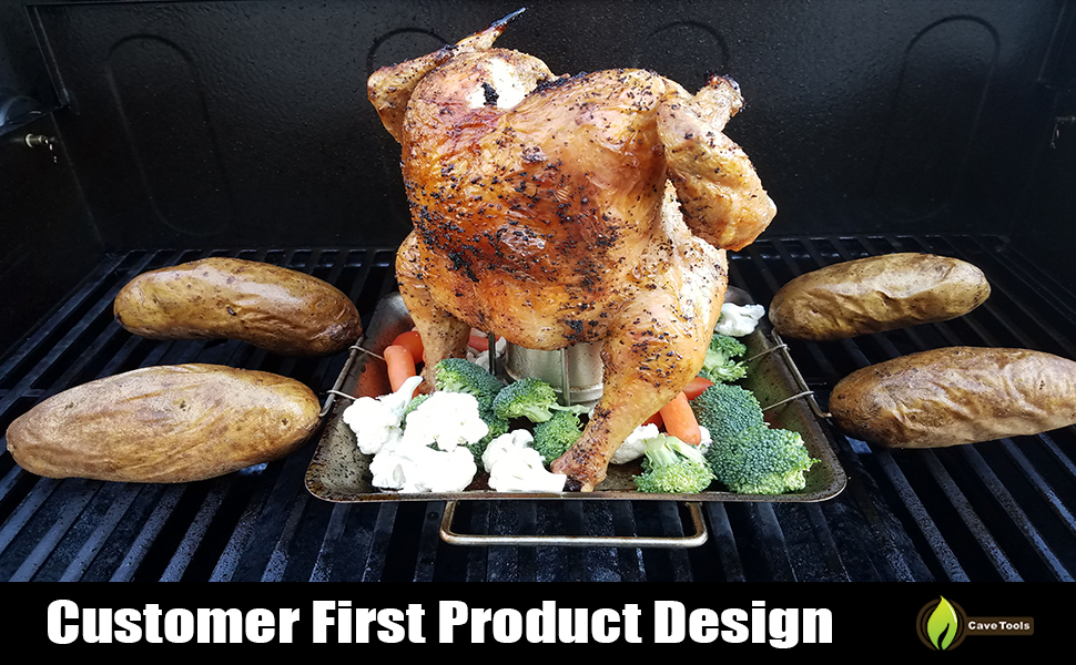 NEW CAVE TOOLS ELITE BEER CAN CHICKEN RACK /& VEGETABLE SPIKES  FOR GRILL OR OVEN