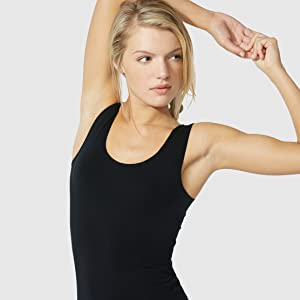 Boody body organic bamboo white tank top simple wide strap layering basic sustainable women black