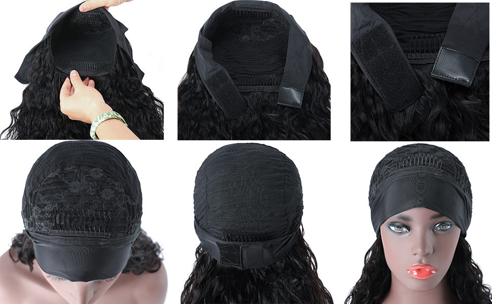 Non Lace Scarf Water Wave Headband Wigs with Headband Attached for Black Women Beginner Friendly