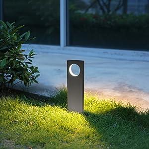 Topmo-plus LED Poste Iluminación Poste de Exterior Luz Aluminio/LED bridgelux COB/Poste de Patio en Moda Impermeable paisaje/Caminos/Patio IP65 (48CM antracita/blanco cálido): Amazon.es: Iluminación