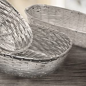 silver plated and tarnish protected 8,3 x 11,8 in Edzard basket//bread basket basket