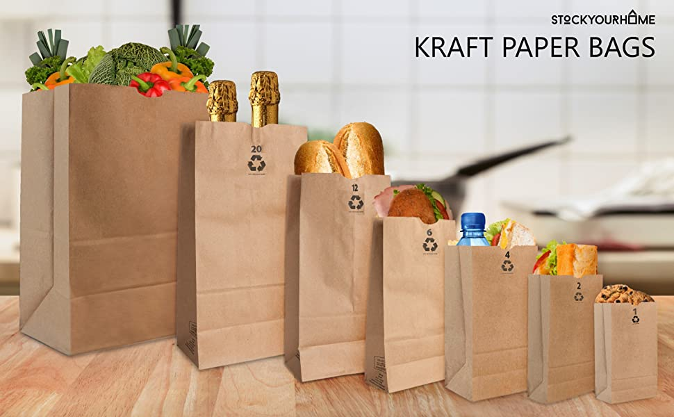 Kraft Brown Paper Bags (250 Count) - Small Kraft Brown Paper Bags for Packing Lunch - Blank Bags