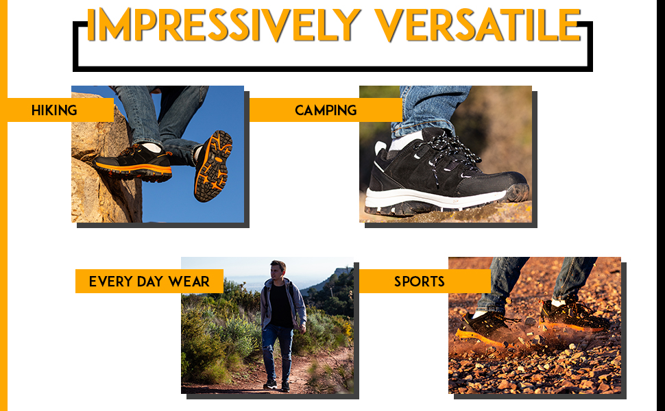 These comfortable trainers are suitable for sports, every day, camping and hiking. Durable soles