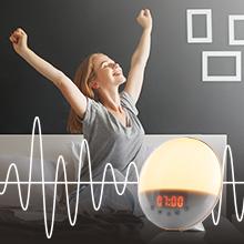 Tramonto Per un Risveglio Luminoso Lampada da Comodino Radio Simulatore dell/'Alba Alta Fedelt/à Simulazione Luce del Sole Sveglia Luminosa con Modalit/à Notte Fonda e Rumore Bianco