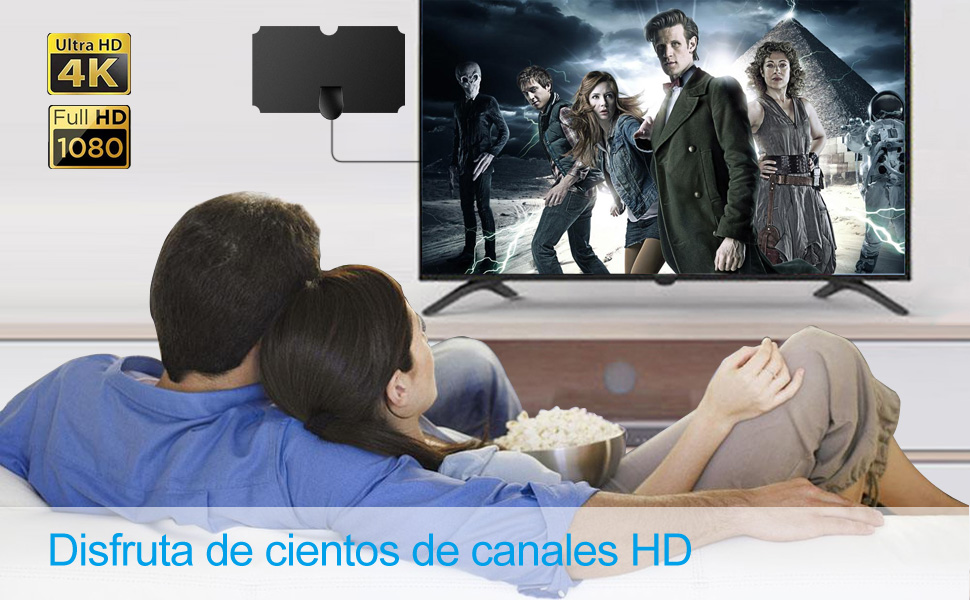 Antena Interior TV, Antena de TV de Rango Amplificado de 120 Millas Antena TDT con Amplificador de Señal y Cable Coaxial de 12.1 FT, Digital HDTV ...