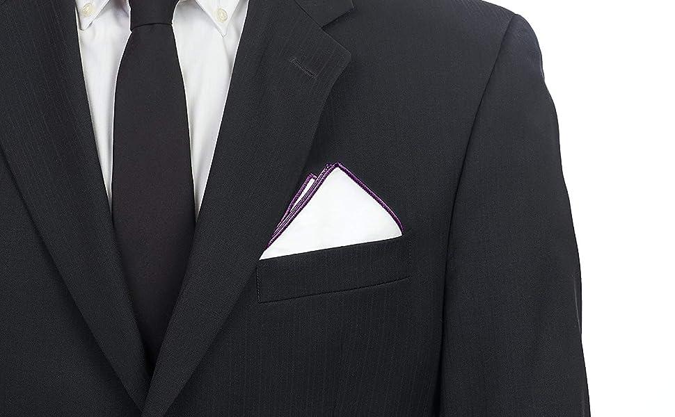 Puentes Denver - Bolsillo cuadrado de algodón 100%, 25,4 x 25,4 cm, color blanco