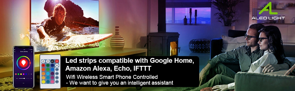WIFI LED Strip 10M RGB LED Strips Lights with Alexa, Google Home