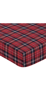 Red and Black Woodland Plaid Flannel Baby or Toddler Fitted Crib Sheet