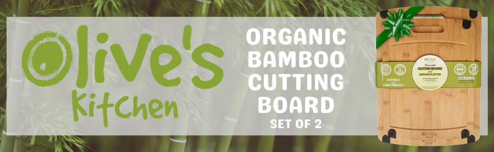 Bamboo Cutting Board Organic 2 Pack Medium Large Reversible Non-slip juice grooves Wood Wooden Cook