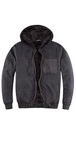 Men's Heavyweight Fleece Hoodies for Men Sherpa Lined Hooded Sweatshirt Jacket