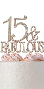 15 cake topper qhinceanera birthday 15th rose gold party decorations fifteen decoration for girls