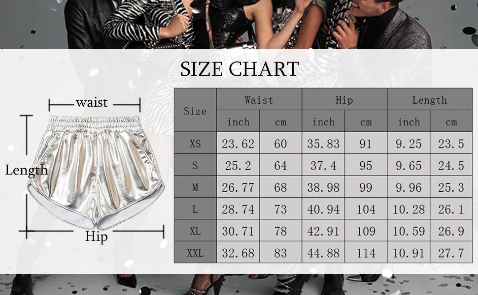 Metallic Shorts Size Chat