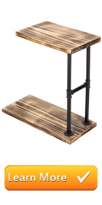 Rustic Burnt Wood & Industrial Style Black Pipe C-Shaped Sofa Side End Table for Coffee