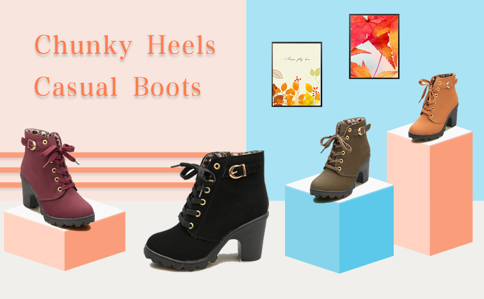 ankle boots for women fashion work boot ladies lace up suede western booties classic comfy shoes