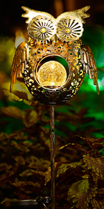 owl garden decoration solar lights