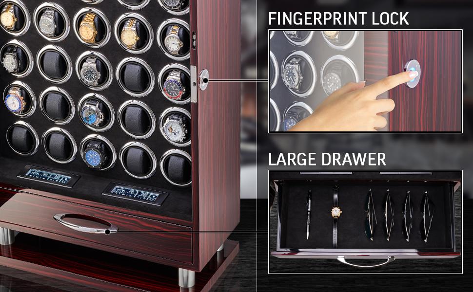 Watch winder fingerprint lock and storage drawer