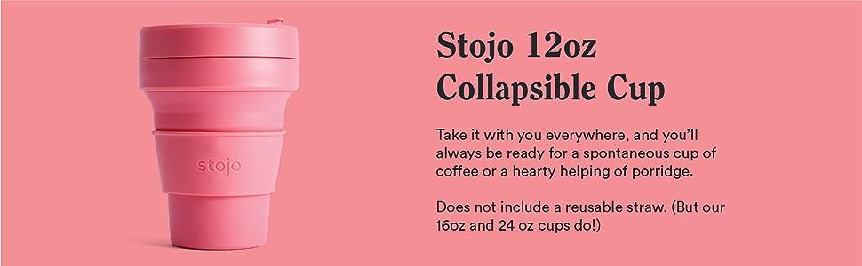 Stojo, reusable, collapsible, cup, 8oz, 12oz, 16oz, 24oz, silicone, dishwasher safe, leak-proof,