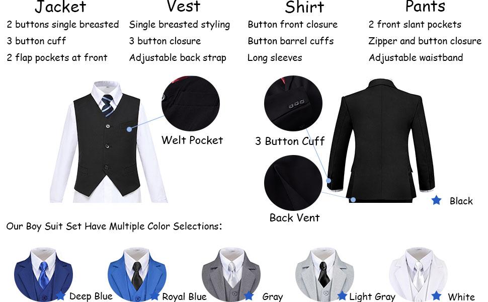Our Boy Suit Set Have Multiple Color Selections: