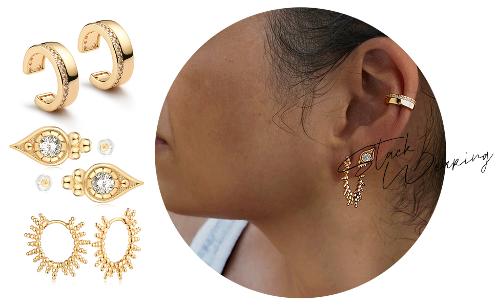 MYEARS Ear Cuff Earring Gold Non Pierced Chunky Band Diamond Clip on Open Wrap Hoop 14K Small Simple