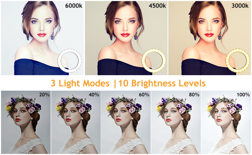 3 Light Colors with 10 Brightness Levels