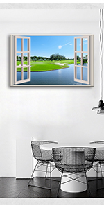Paintings of a Window Wall Art Photography Prints Golf Course Tree Decal
