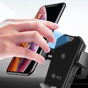 Te-Rich Cargador Inal/ámbrico Coche Carga R/ápida Cargador Qi coche para Tel/éfono,Soporte Autom/óvil 10W para Samsung S10//S10e//S10+//S9//S8//S8+//Note 8,7.5W para iPhone XS//XS Max//XR//X//8//8 Plus