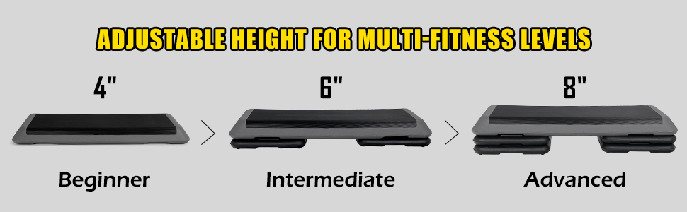 """Adjustable Risers 4"""" - 6"""" - 8"""" Exercise Fitness Workout Stepper"""