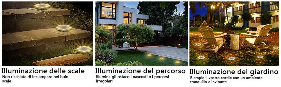 Luci Solari Giardino,8 LED Luce Sepolta Solare, Luci Solari Da Esterno, Batteria Da 900mAh