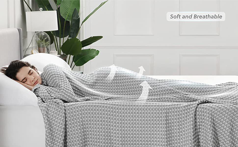 user image of the Bedsure 50% Cotton 50% Bamboo Waffle Weave Blanket
